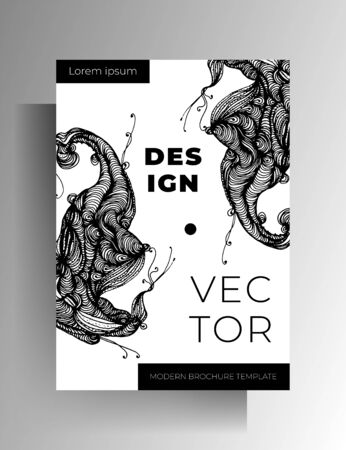 Cover design. Black and white illustration with hand-drawn graphic elements. A4 format.  vector