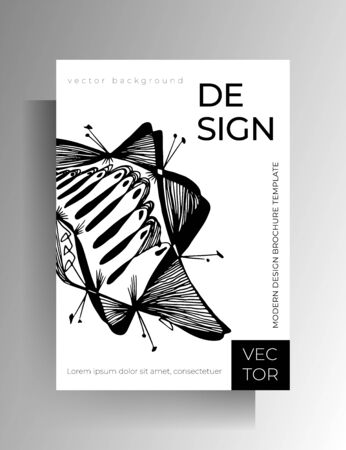Cover design. Black and white illustration with hand-drawn graphic elements. A4 format. EPS 10 vector