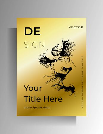 Cover, poster template design with ink spots. Hand drawn gold with black. Vector 10 EPS.