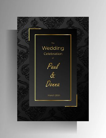 Wedding invitation design. Floral hand painted texture in black color. Vector