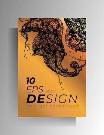 Design for poster, cover for book, magazine. Gold and black concept with graphic hand-drawn elements. EPS 10 vector.