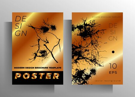 Set of cover design templates. Manually drawn ink blots on a gold background. Vector 10 EPS.