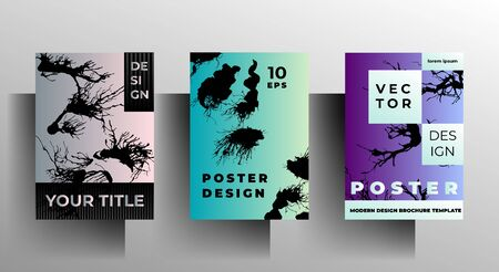 Set of cover design templates. Hand drawn ink blots on a colorful background. Vector 10 EPS.