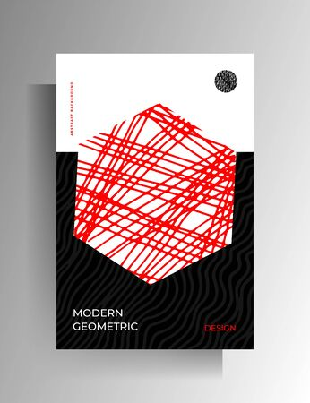 Geometric tricolor design for cover, poster. Hand-drawn graphic elements. Vector 10 EPS.