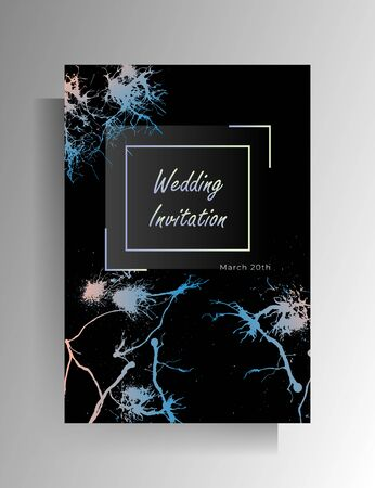 Design wedding invitation template. Colored spots of paint on a black background are drawn by hand. Vector 10 EPS.