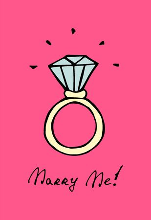 A ring with a diamond. Colored hand drawn doodle isolated illustration on pink background. Vector 10 EPS.