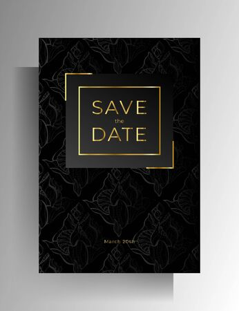 Wedding invitation design. Floral hand painted texture in black color. Vector 10 EPS. Reklamní fotografie - 138470340