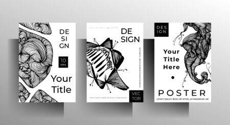 Cover design set of templates for book, magazine, brochure, catalog. Black and white illustration with hand-drawn graphic elements. A4 format. EPS 10 vector