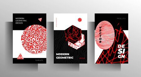 Set of geometric covers. Minimalistic tricolor design with hand drawn elements. Vector 10 EPS.