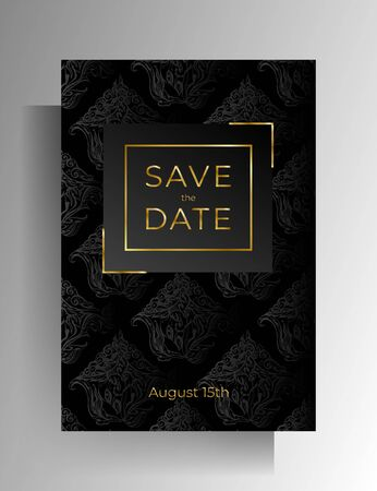 Wedding invitation design. Floral hand painted texture in black color. Vector .