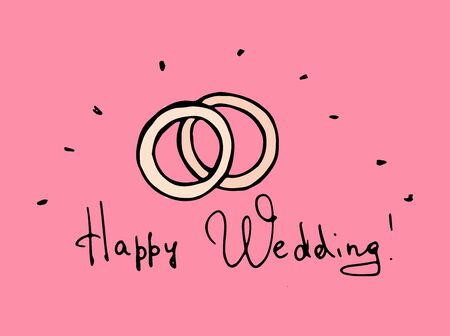 Wedding rings. Colored hand-drawn doodle illustration on pink background.