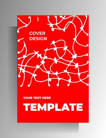 Cover template design. White and red minimalistic illustration with hand-drawn texture. Vector 10 EPS.