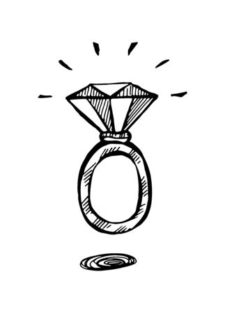 A ring with a diamond. Black and white hand-drawn doodle isolated illustration. Vector 10 EPS.