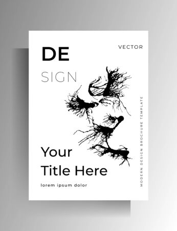 Monochrome design of cover, poster, flyer with ink spots. Hand drawn vector illustration.