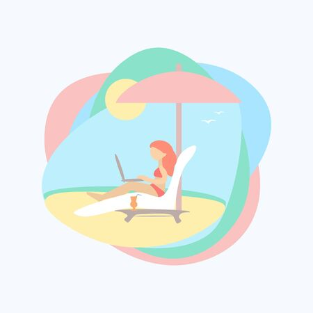 Girl with a laptop on the beach. Color flat illustration. Vector 10 EPS.