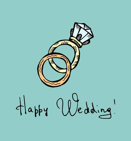 Wedding rings. Colored hand-drawn doodle illustration on a turquoise background.