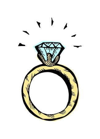 A ring with a diamond. Colored hand-drawn doodle isolated illustration. Vector 10 EPS.