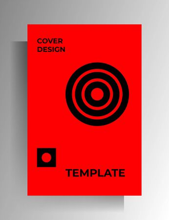 Geometric cover design. Black and red minimalistic illustration. Vector 10 EPS.
