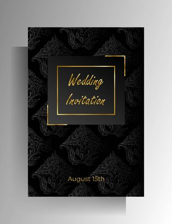Wedding invitation design. Floral hand painted texture in black color. 向量圖像