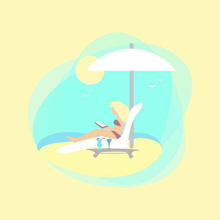 Girl on the beach is reading a book. Color flat illustration.