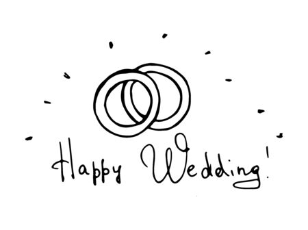 Wedding rings. Monochrome doodle isolated illustration is hand drawn. Vector 10 EPS. 向量圖像