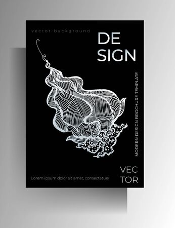 Cover template design for book, magazine, booklet, catalog, brochure. Monochrome graphic elements are manually drawn. Vector 10 EPS.