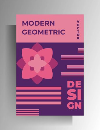 Cover template design for book, magazine, booklet, catalog, brochure, textbook. Geometric color vector illustration.