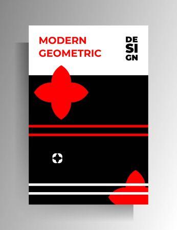 Geometric cover design. Black-red-white illustration. Vector 10 EPS. 向量圖像
