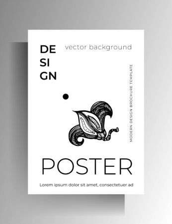 Cover template design. Hand-drawn floral graphic element. Vector black and white illustration.