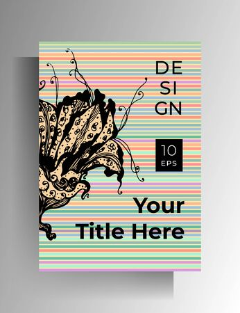 Cover template design for book, cover, brochure, catalog. A hand-drawn floral graphic element on a colored striped background. Vector 10 EPS.