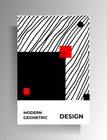 Geometric cover design. Black-red-white illustration with hand-drawn textures. Vector 10 EPS. 向量圖像