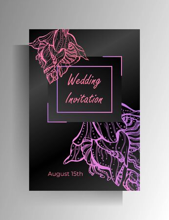 Design wedding invitation template. Floral hand drawn ornament on a black background. Vector 10 EPS.