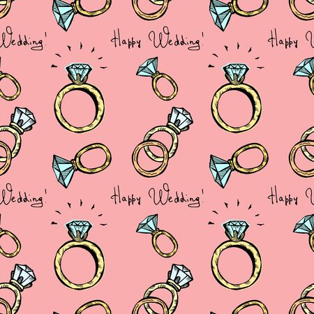 Wedding rings seamless pattern on a pink background. Hand drawn doodle color vector illustration.