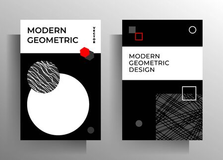 Geometric cover design for book, magazine, catalog, brochure, poster template set. Hand drawn texture black, gray, white, red. Vector Ilustracja