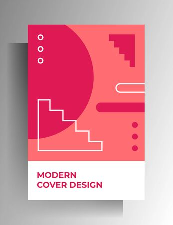 Cover template design for book, brochure, magazine, catalog. Colored geometric retro style vector illustration. A4 format.