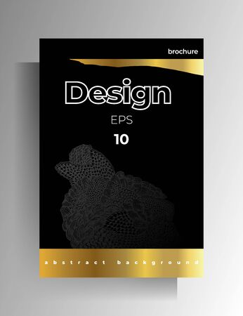 Cover template design for book, magazine, brochure, catalog. Hand-drawn graphic elements black with gold. Vector 10 .