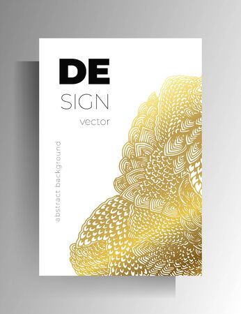Cover design for book, magazine, brochure, catalog. Hand-drawn graphic elements white with gold. Vector 10 .