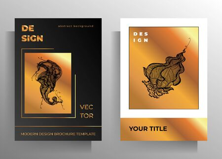 Cover design for book, magazine, poster template set. Hand drawn graphic elements gold, black, white. Ilustracja