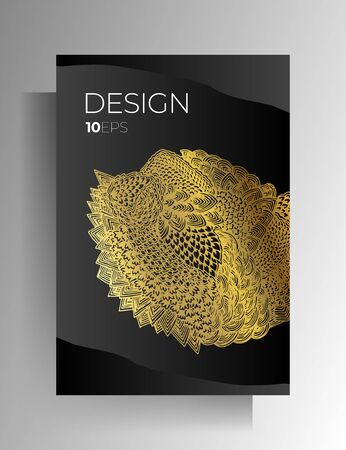 Cover template design for book, magazine, brochure, catalog. Hand-drawn graphic elements black with gold. Vector .