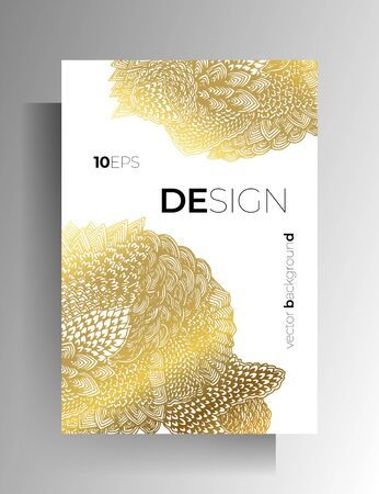 Cover design for book, magazine, brochure, catalog. Hand-drawn graphic elements white with gold. Vector Ilustracja