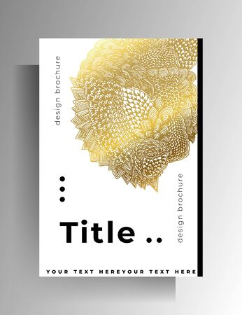 Cover design for book, magazine, brochure, catalog. Hand-drawn graphic elements white with gold.