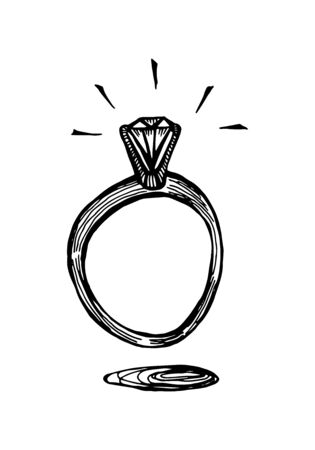 A ring with a diamond. Doodle hand drawn black and white isolated illustration.
