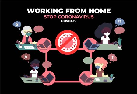 Stop coronavirus COVID-19. Banner encouraging people to work at home. Vector color illustration.