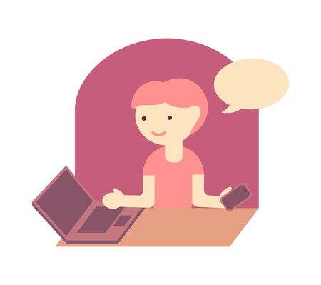 Young girl with laptop and smartphone at the workplace. Color vector flat isolated illustration. 向量圖像