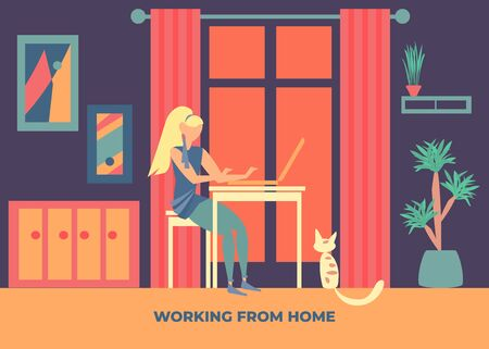 Girl at the computer. Work at home. Vector color illustration.