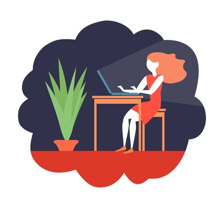 The girl works on the computer. Vector color illustration.