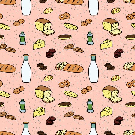 Groceries seamless pattern. Vector hand drawn doodle color illustration.