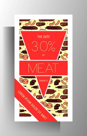 Meat shop store banner template design. Manually painted color pattern. 向量圖像