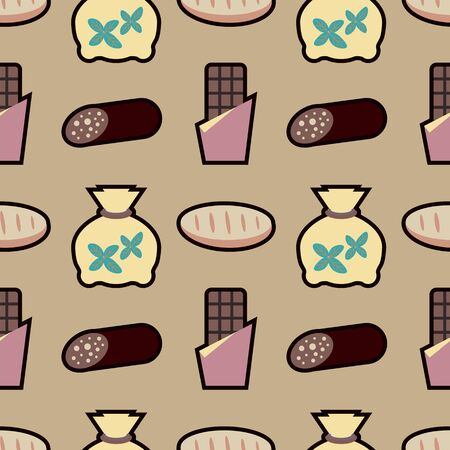 Foodstuffs sausage, tea, chocolate and bread seamless pattern on a beige background. Vector illustration.