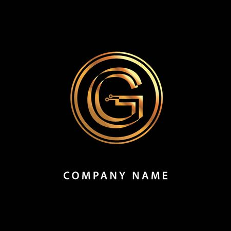 Letter G monogram, business . Vector golden isolated icon on a black background.